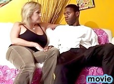 Black dude and a blondie babe in hardcore action